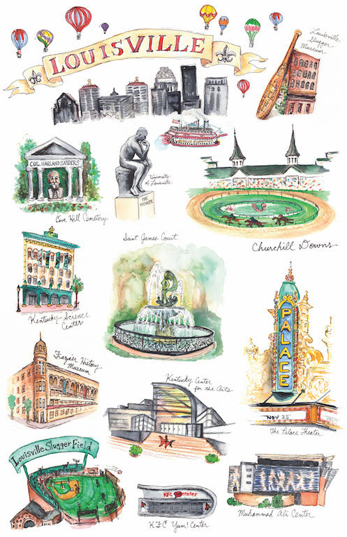Louisville Landmarks Watercolor Print