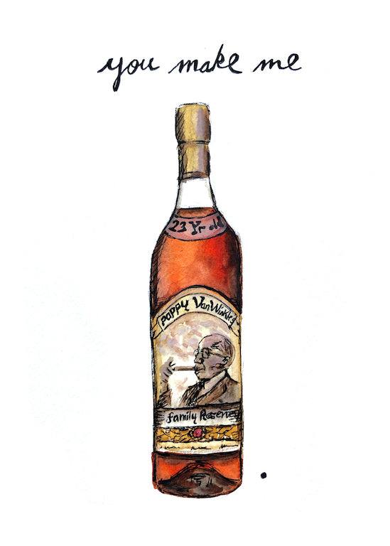 Pappy Van Winkle Bourbon Pun Watercolor Postcard
