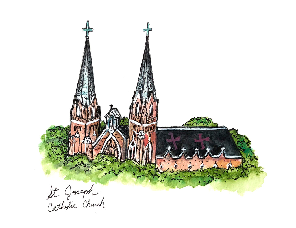 St. Joseph Church Watercolor Print