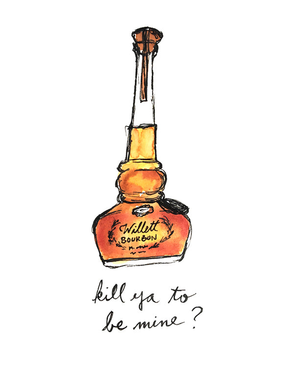 Willett Bourbon Pun Watercolor Postcard