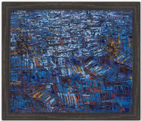 Authentic Nigerian Art - Nigerian Paintings - African Paintings - Rooftops In The Moonlight
