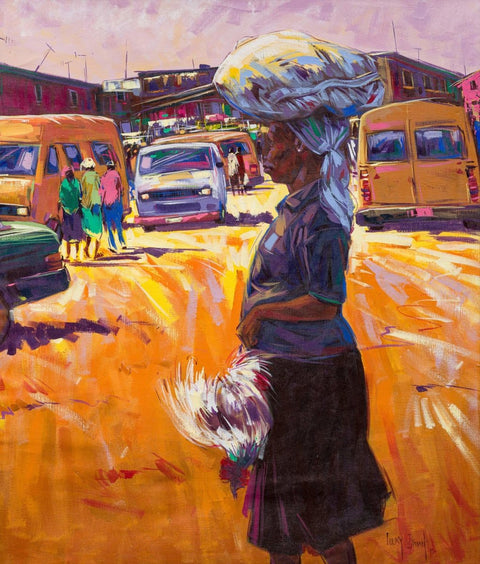 Authentic Nigerian Art - Nigerian Paintings - African Paintings - Chicken For Dinner