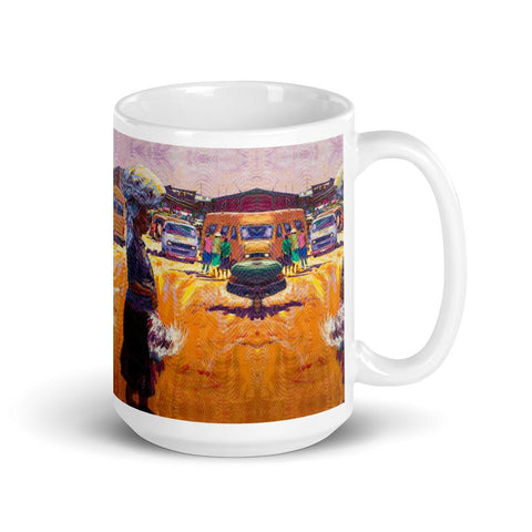 Authentic Nigerian Art - Nigerian Paintings - African Paintings - Chicken For Dinner Mugs