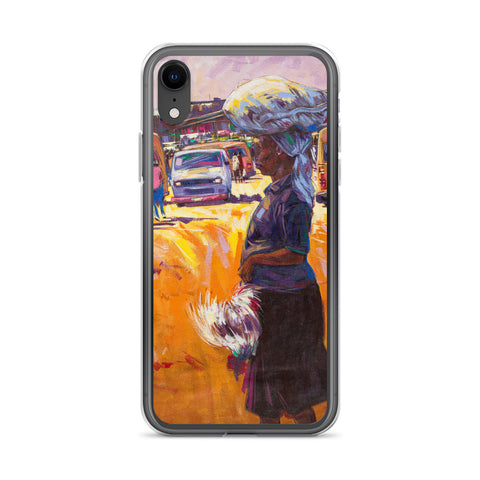 Authentic Nigerian Art - Nigerian Paintings - African Paintings - Chicken For Dinner iPhone Case