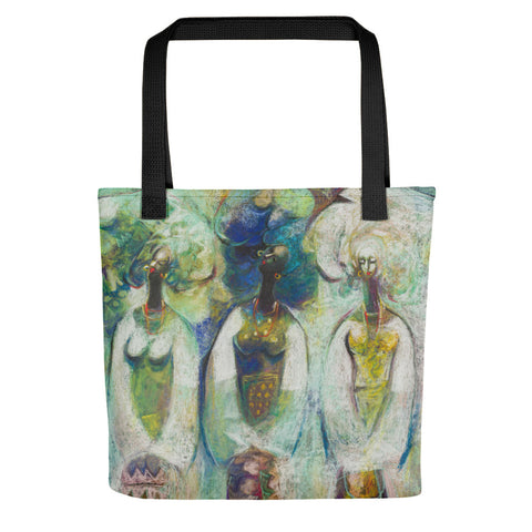 Authentic Nigerian Art - Nigerian Paintings - African Paintings - Sisters Tote Bag
