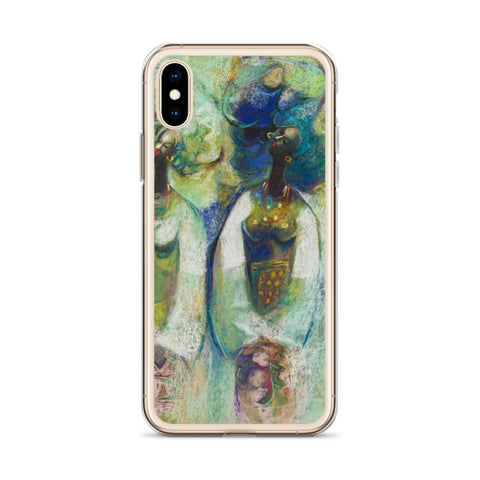 Authentic Nigerian Art - Nigerian Paintings - African Paintings - Sisters iPhone Case