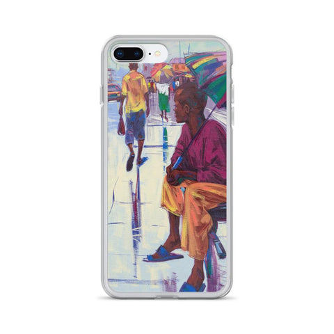 Authentic Nigerian Art - Nigerian Paintings - African Paintings - The Lonely Man iPhone Case