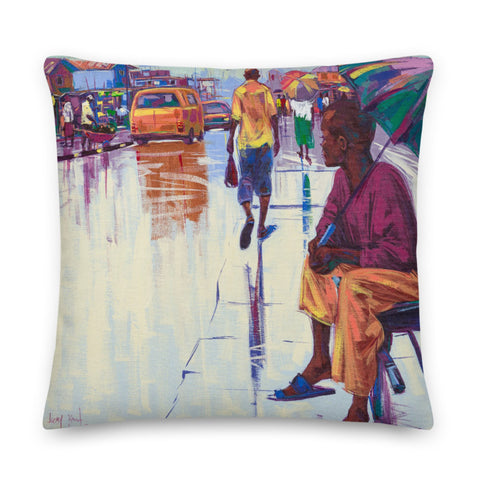 Authentic Nigerian Art - Nigerian Paintings - African Paintings - The Lonely Man Throw Pillow