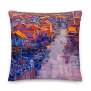 Authentic Nigerian Art - Nigerian Paintings - African Paintings - Village Of Dreams Throw Pillow