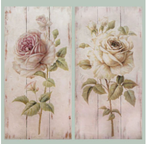 Hand Finished Two Flowers Wall Art 2 x 90cmx45cm