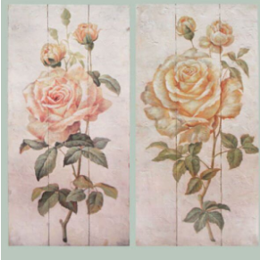 French Vintage Shabby Chic Style | Hand Finished Two Flowers Wall Art (2) 2 x 90cmx45cm
