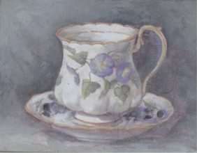 French Vintage Shabby Chic Style | Hand finished Tea Cup - Blue Fleur 155x205x15mm