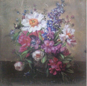 French Vintage Shabby Chic Style | Hand Finished Vase of Flowers Wall Art 360x360x30mm
