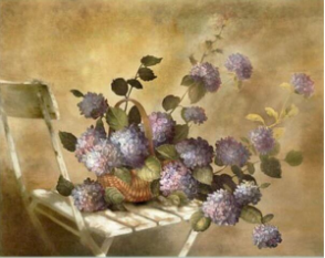 Hand finished Hydrangea on Chair---Mauve 360x360x30mm