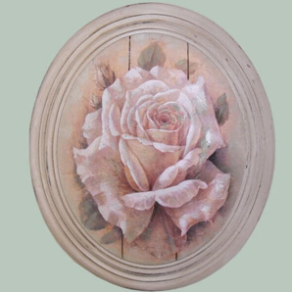 Hand finished Large Oval Plaque Painted Cream Rose 320x265x50mm