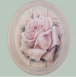 Hand finished Large Oval Plaque Painted P.Pink Rose320x265x50mm