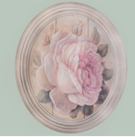 Hand finished Large Oval Plaque Painted Peony Rose320x265x50mm