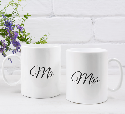 Couple's Mugs: Mr and Mrs | 2 x Ceramic Mug 11oz per Set