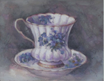 Hand finished Tea Cup - Violets 155x205x15mm