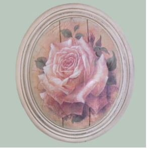 Hand finished Large Oval Plaque Painted Pink Rose 320x265x50mm