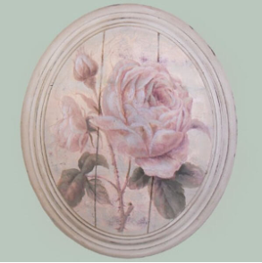 French Vintage Shabby Chic Style | Hand finished Large Oval Plaque Full Cream Rose 320x265x50mm