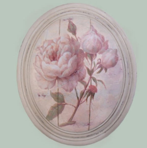Hand finished Large Oval Plaque Full P.Pink Rose 320x265x50mm