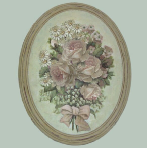 Hand finished Oval Plaque Bunch of Pink Roses 320x265x50mm