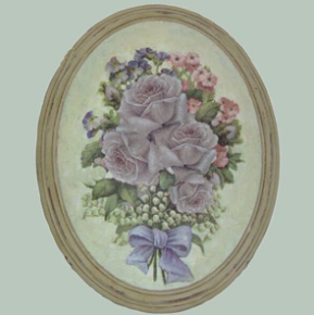 Hand finished Oval Plaque Bunch of Mauve Roses 320x265x50mm