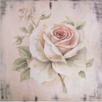 French Vintage Shabby Chic Style | Hand finished Single Pale Pink Rose 400x400x30mm