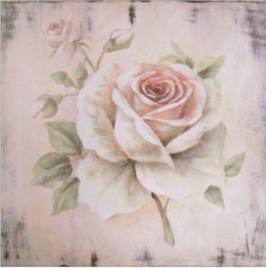 Hand finished Single Pale Pink Rose 400x400x30mm
