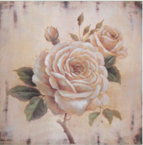 Hand finished Single Cream Rose 400x400x30mm