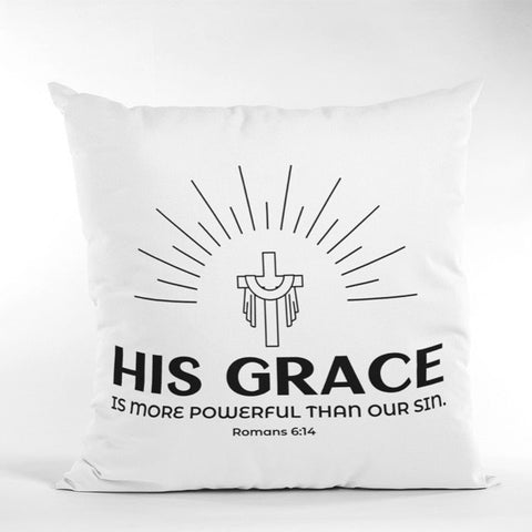 A Pillow Case of Faith: His Grace is More Powerful Than Our Sin | Spun Polyester Square Pillow Case