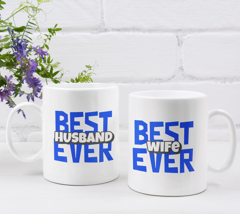 Couple's Mugs: Best Husband Ever Best Wife Ever | 2 x Ceramic Mug 11oz per Set