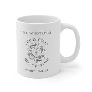 A Mug of Faith: God's Love Never Fails | Ceramic Mug 11oz