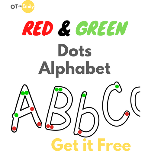 red and green dots free printable alphabet fine motor skills handwriting occupational therapy OT with Emily OTwithemily