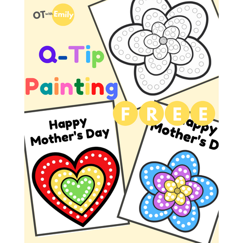 Mother's Day q tip painting fine motor skills occupational therapy OTwithEmily OT with Emily activities free printable