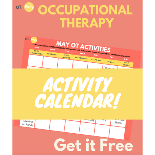 occupational therapy activity calendar free resource freebies ot with Emily otwithemily