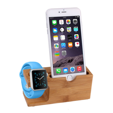 Natural Bamboo Phone & Apple Watch Holder & Charging Mount - webdeals4u.uk
