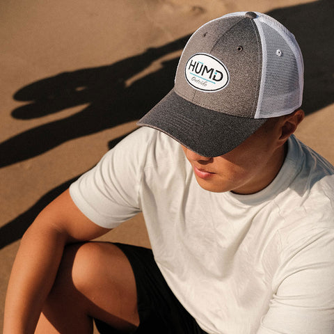 Unisex Low Profile Mesh Hat Velcroback - Heather Gray