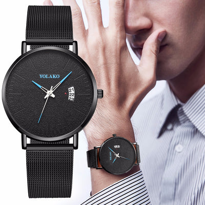 YOLAKO Stainless Steel Mesh Belt Watch