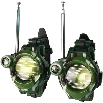 2pcs 7 in 1 Camouflage Walkie Talkie Watches