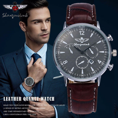 SHANGMEIMK Luxury Leather Strap Quartz Watch