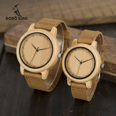Leather Band Handmade Bamboo Lovers' Watches
