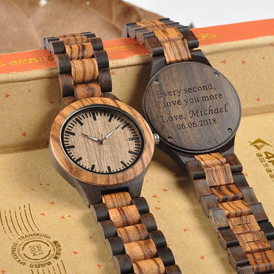 Engraved Lovers' Wood Watches Anniversary Gifts