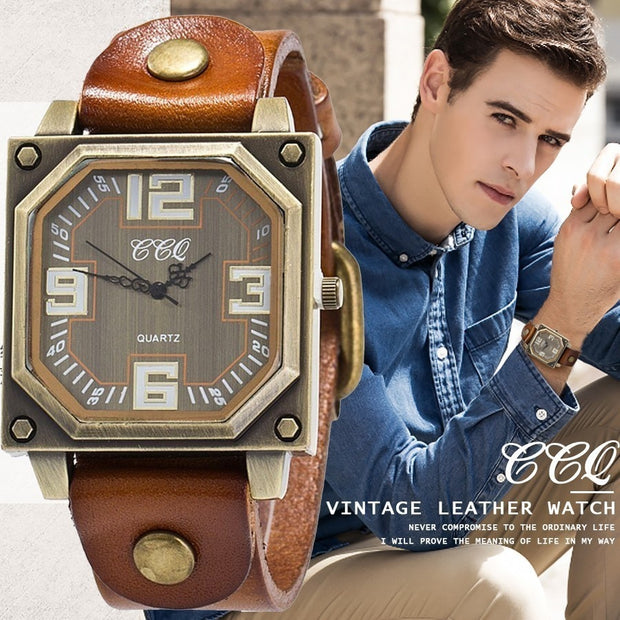 CCQ Analog Vintage Leather Casual Watch