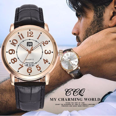 CCQ Top Band Leather Casual Watch