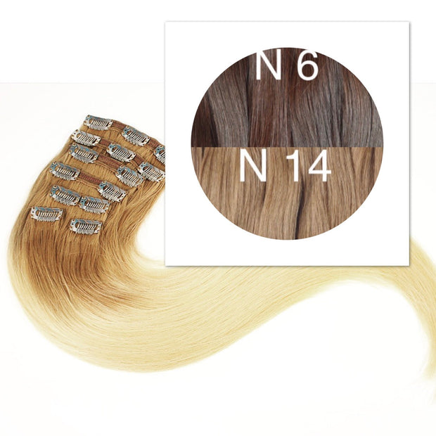 Clips and Ponytail Ambre 6 and 14 Color GVA hair - GVA hair
