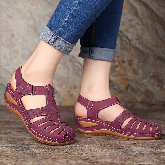 Retro hole shoes non-slip large size round toe wedge comfortable women sandals(Buy 2 Free Shipping)