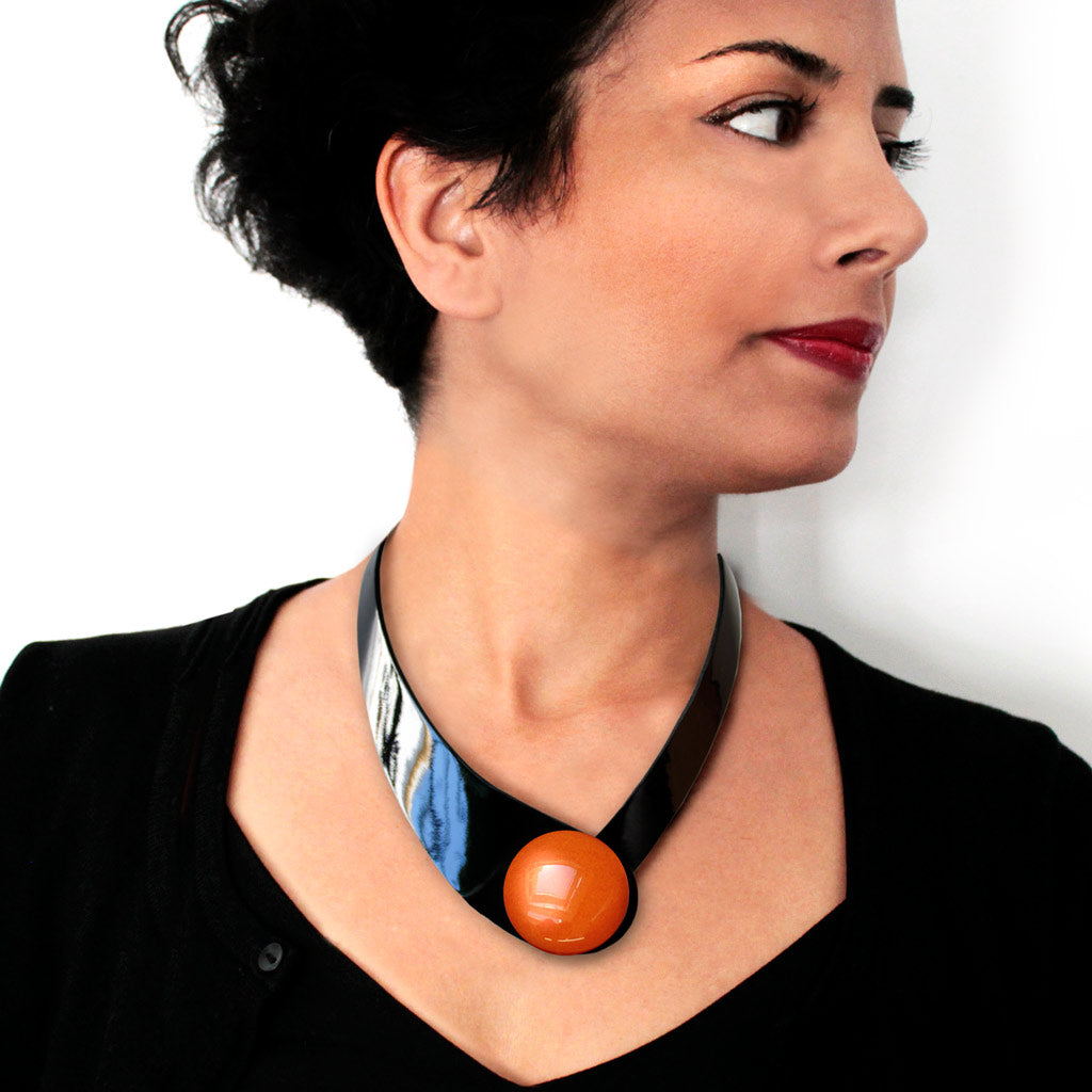 Bright Black Leather Necklace + Ceramic Button