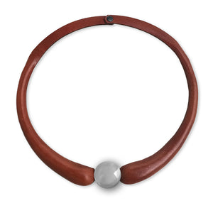 Brown Embossed Leather Necklace + Little Ceramic Button